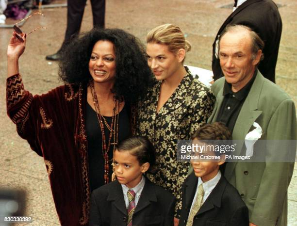 American singer Diana Ross with her husband Arne Naess and her family attend the film premiere of 'Batman and Robin' at the Empire cinema in London's...