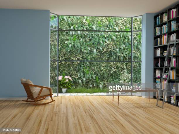 library room with garden wall - umweltschutz stock-fotos und bilder