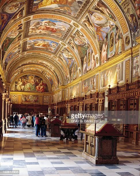Library with frescoed vault El Escorial monastery by Juan Bautista de Toledo and Juan Herrera 15631584 Spain 16th century