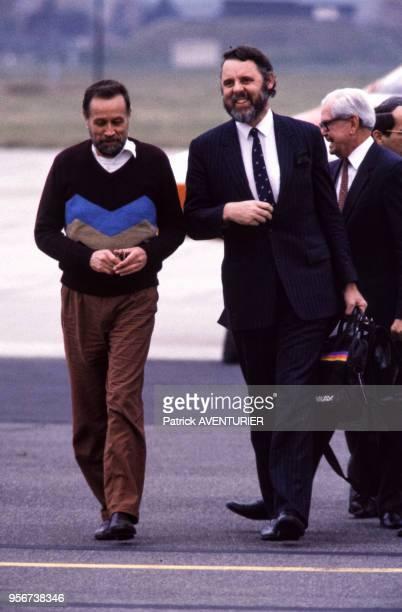 Libération de l'otage retenu par le Hezbollah au Liban David Jacobsen et le pasteur britannique Terry Waite le 1er novembre 1986 à Wiesbaden Allemagne