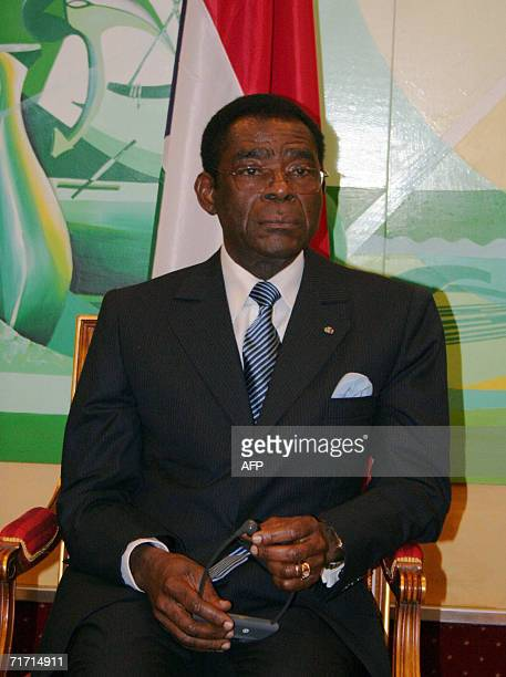 Equatorial Guinea's President Teodoro Obiang Nguema is pictured at the start a summit gathering eight leaders of the Gulf of Guinea Commission in...