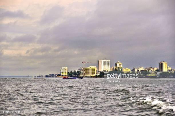 libreville, gabon - gabonese capital seen from the gabon estuary (aka komo river) - gabon stock pictures, royalty-free photos & images