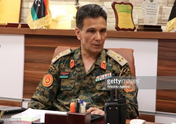 Libya Army Sirte-Jufra Joint Operation Room Spokesperson General Abdulhadi Dirah speaks during exclusive interview in Misrata, Libya on June 13, 2020.