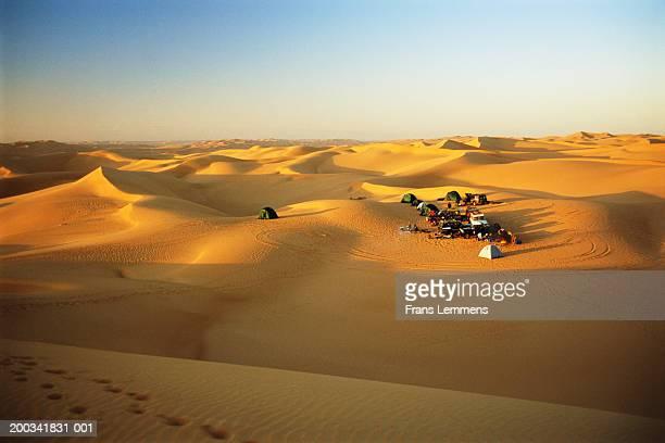 Libya, Fezzan, near Ubari, tourists' camp in desert