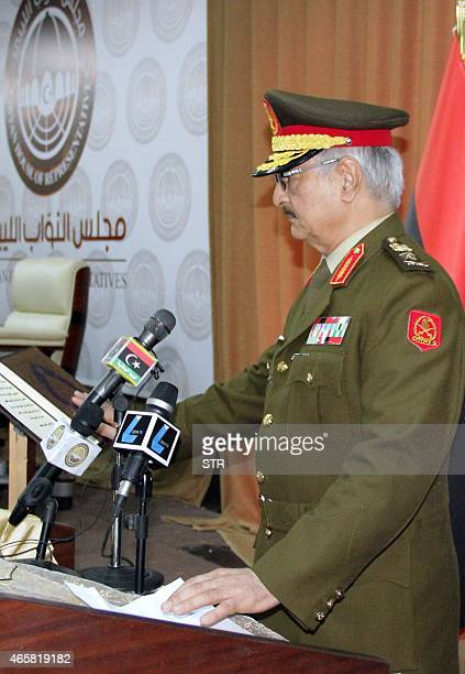 Libyan antiIslamist General Khalifa Haftar delivers a speech during his swearing in ceremony as the new army chief in conflictridden Libya on March 9...