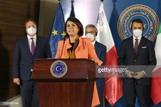 Libyan Foreign Minister Najla al-Mangoush speaks during a joint press conference with European Commissioner for Neighbourhood and Enlargement Oliver...