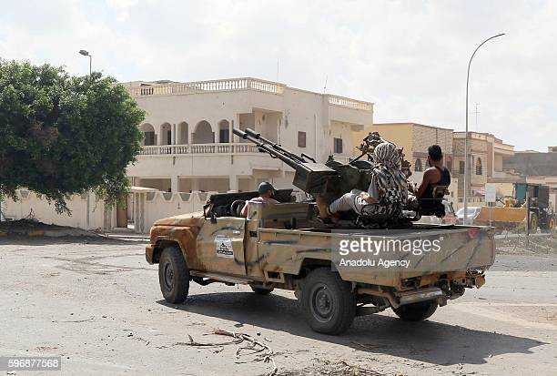 Libyan Government of National Accord forces, attack Daesh militants with heavy and light weapons at District One and District Two in Sirte, Libya on...