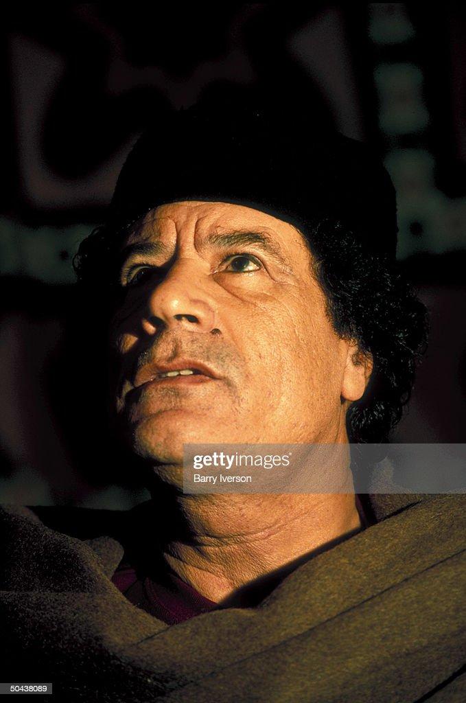 Libyan ldr. Col. Muaamer Gaddafy during TIME interview.