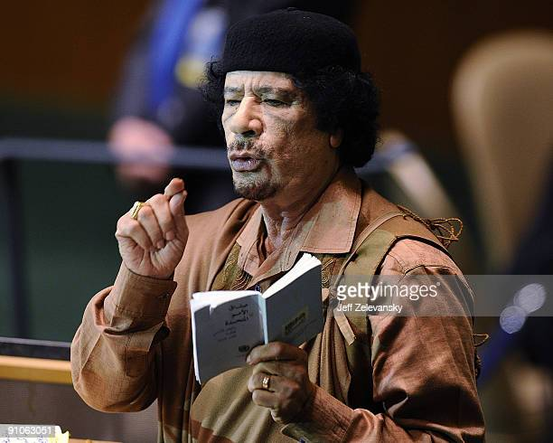 Libyan leader Col Moammar Gadhafi addresses at the 64th General Assembly at United Nations Headquarters on September 23 2009 in New York City Over...
