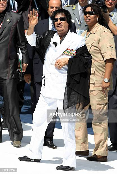 L'AQUILA ITALY JULY 10 Libyan leader Moamer Kadhafi arrives for a meeting of the G8 Summit at the Guardia Di Finanza School of Coppito on July 10...