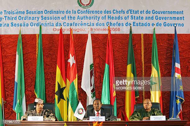 Libyan leader Moamer Kadhafi Burkina Faso's President and Economic Community of West African States' current chairman Blaise Compaore and ECOWAS...