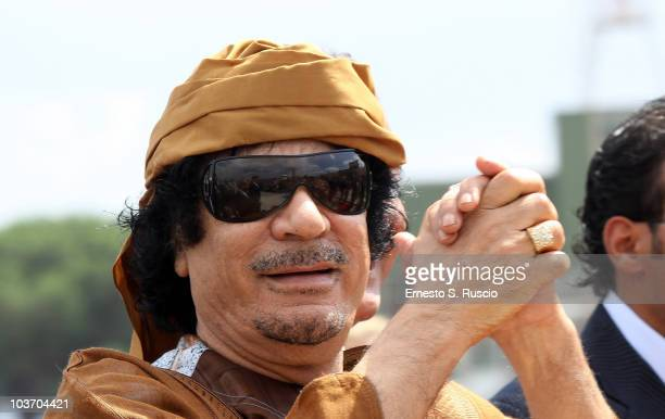 Libyan leader Muammar Gaddafi arrives at Ciampino airport on August 29 2010 in Rome Italy Gadaffi is on an official twoday visit to Italy for talks...