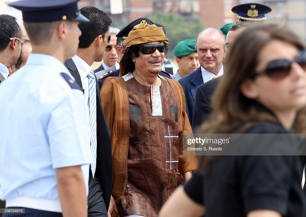 Libyan leader Muammar Gaddafi arrives at the Ciampino airport on August 29, 2010 in Rome, Italy. Gadaffi is on an official two-day visit to Italy for talks with Prime Minister Silvio Berlusconi. The visit also marks the second anniversary of a friendship treaty between Italy and Lybia.