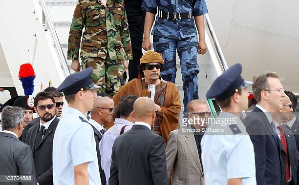 Libyan leader Muammar Gaddafi arrives at the Ciampino airport on August 29 2010 in Rome Italy Gadaffi is on an official twoday visit to Italy for...