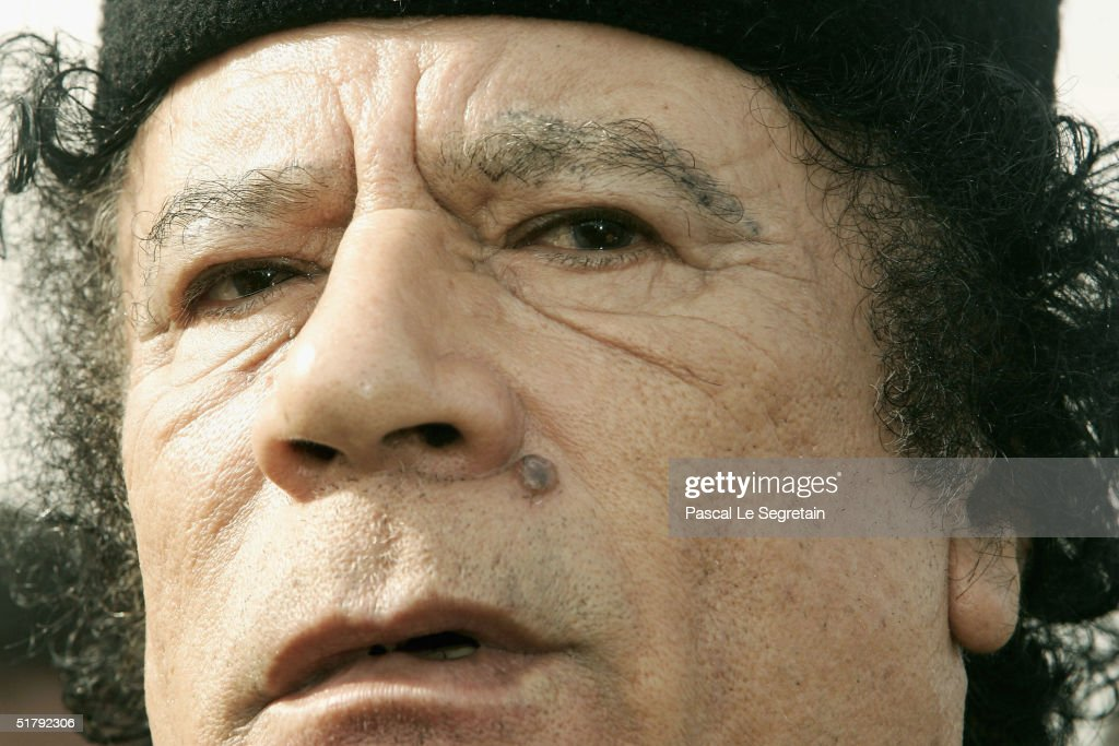 Libyan leader Muammar Khadafi is seen on November 25, 2004 in Tripoli, Libya. France and Libya signed a joint business agreemet during French President Jacques Chriac's two day official visit to Libya, the first by a French leader since 1951.