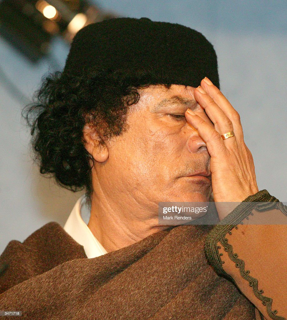 Libyan leader Muammer Gaddafi is seen at the European Commission on April 27, 2004 in Brussels, Belgium. Gaddafi is in Brussels visiting the European Union and is his first visit to Europe since 1989.