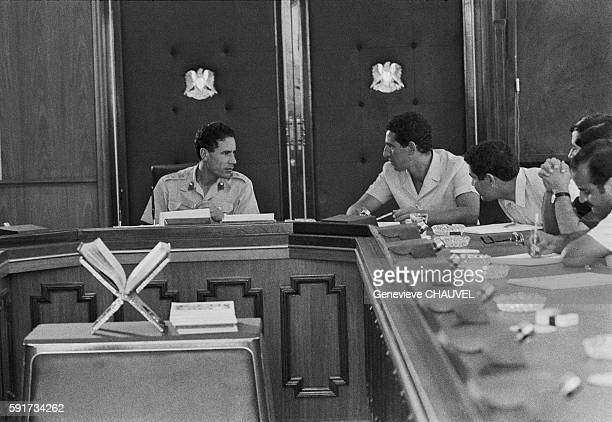 Libyan leaders Colonel Muammar alQaddafi Prime Minister Abdul Salam Jalloud during a meeting of the Revolutionary Command Council in Tripoli Libya