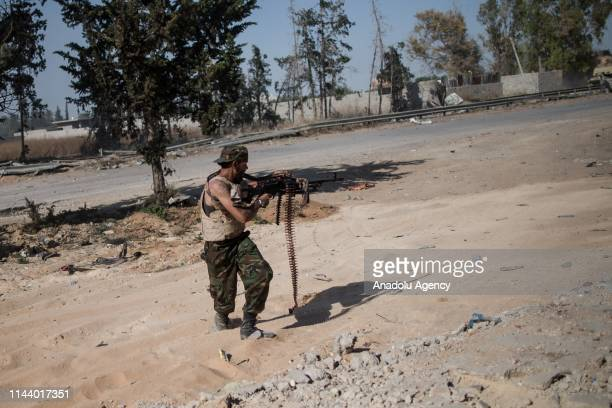 Libyan National Accord Government troops clash military commander Khalifa Haftar's troops on course of the airport in Al Sawani region of Tripoli,...