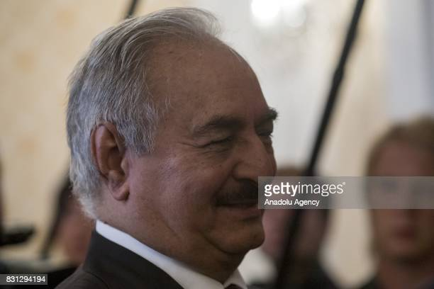 Libyan National Army Commander Khalifa Haftar is seen before their meeting with Russian Foreign Minister Sergei Lavrov in Moscow Russia on August 14...