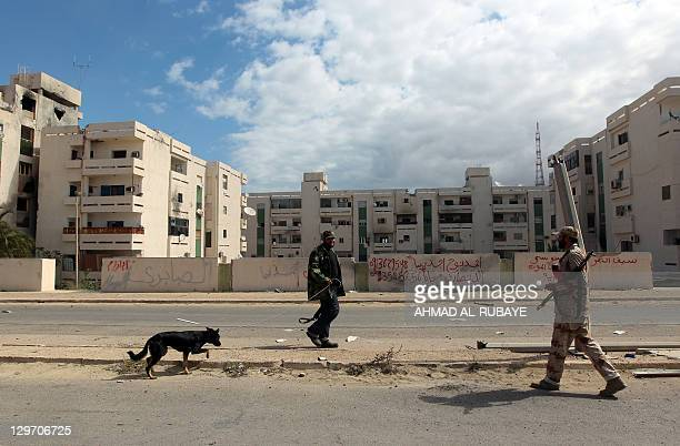 A Libyan National Transitional Council fighter walks with a dog on October 19 2011 in a deserted street in Sirte's neighbourhood Number 2 one of the...