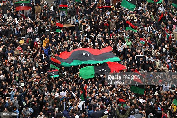 Libyan opposition supporters demonstrate March 4, 2011 in Benghazi, Libya. Thousands of protesters gathered for Friday prayers and listened to a call...