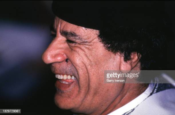 Libyan President Muammar Gaddafi at the Arab League summit in Cairo in June 1996.