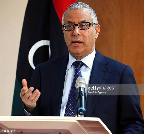 Libyan Prime Minister Ali Zeidan speaks to the media during a press conference in Tripoli, Libya, on January 27, 2014.