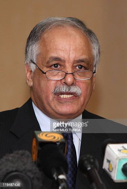Libyan Prime Minister Baghdadi alMahmudi speaks to the media after his meeting with Russian envoy Mikhail Margelov in Tripoli on June 16 2011 Mahmudi...