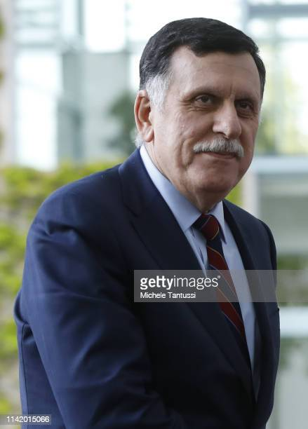 Libyan Prime Minister Fayez Al Sarraj arrives in the courtyard of the Chancellery on May 7, 2019 in Berlin, Germany.
