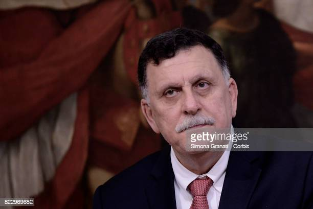 Libyan Prime Minister Fayez al-Sarraj at Palazzo Chigi on July 26, 2017 in Rome, Italy. Paolo Gentiloni has previously met with Fayez al-Sarraj to...