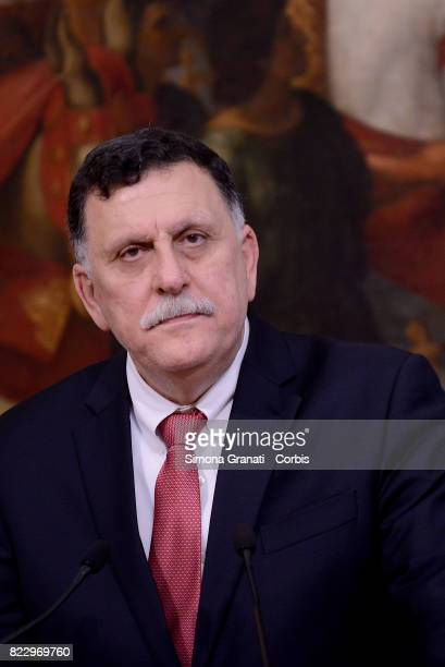 Libyan Prime Minister Fayez alSarraj at Palazzo Chigi on July 26 2017 in Rome Italy Paolo Gentiloni has previously met with Fayez alSarraj to discuss...