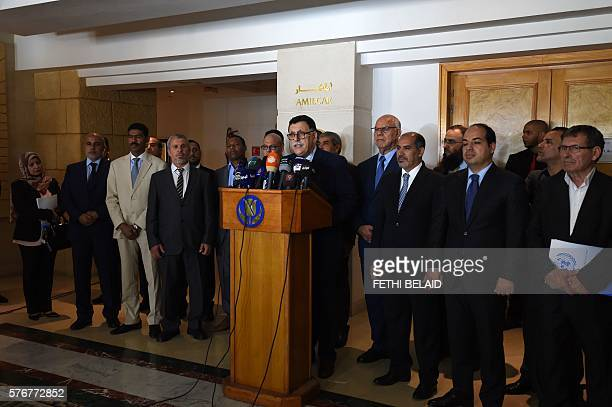 Libyan Prime Minister Fayez al-Sarraj speaks during a press conference following his meeting with representatives of Libyan political parties on July...