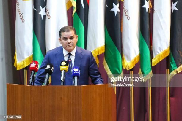 Libyan Prime Minister-designate Abdul Hamid Dbeibeh speaks as Libyas House of Representatives resumed its session in the coastal city of Sirte, Libya...