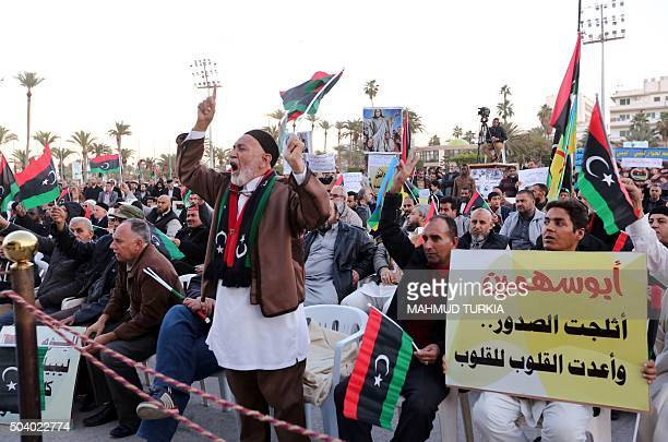 Libyan protesters take part in a demonstration against a UNsponsored agreement on forming a national unity government and in support of the...