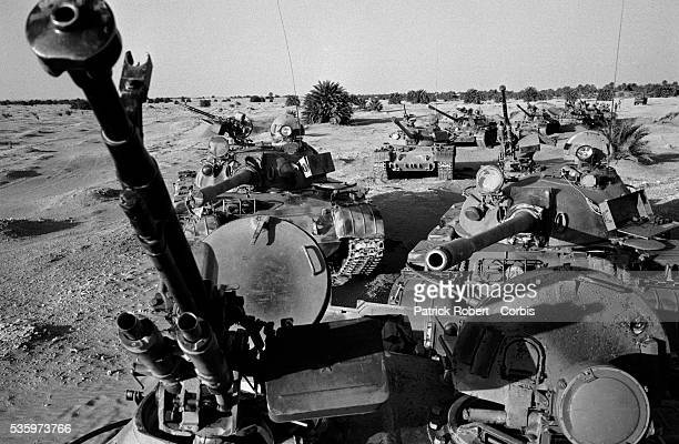 Libyan tanks stand abandoned in the desert after being captured by FANT the Chadian National Army as troops reconquered the BorkouEnnediTibesti...