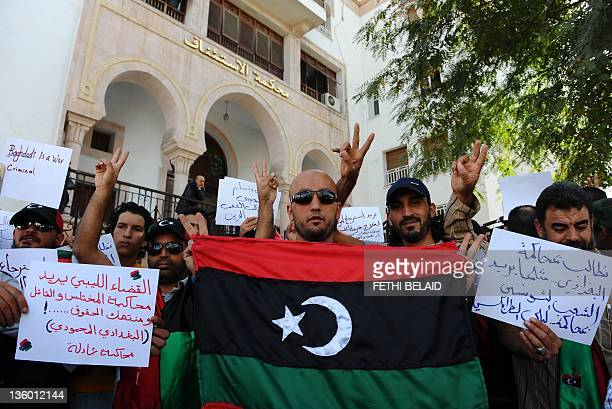 Libyans demonstrate in front of the Palace of Justice on November 8 2011 in Tunis Amnesty International has urged Tunisia not to extradite Libyan...