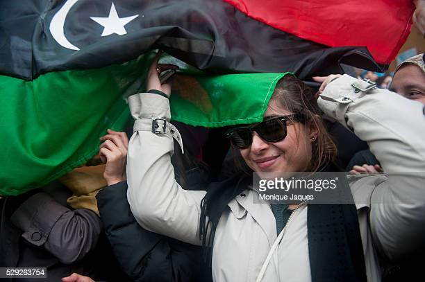 Libyans gather in the main square of Benghazi, Libya to celebrate the cities overthrow of Col. Gadaffi's 41 year rule. Cities in the east of Libya...