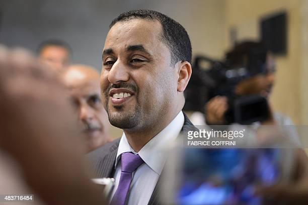 Libya's General National Congress deputy president Saleh alMakzom speaks to journalists during peace talks between rival Libyan factions at the UN...