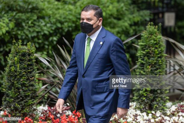 Libya's interim prime minister Abdul Hamid Dbeibah arrives ahead of a meeting with Britain's Prime Minister Boris Johnson in Downing Street on June...