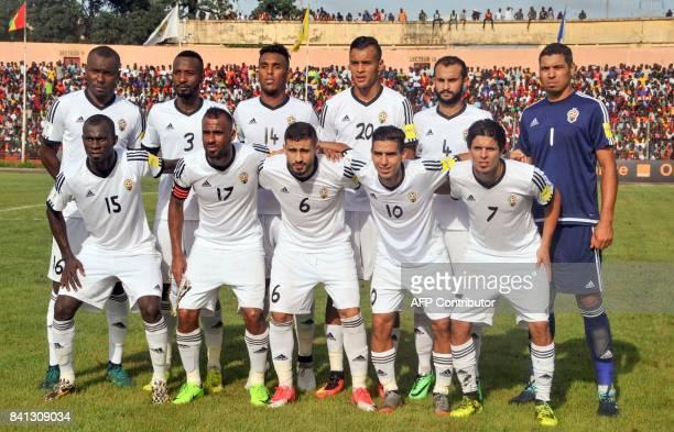 Libya's national football team players Muhammad Nashnoush Sand Msoud Moath Abood Motasem Sabbou Abdulrhman Ramadhan Khalleefah Moayad Allafi...