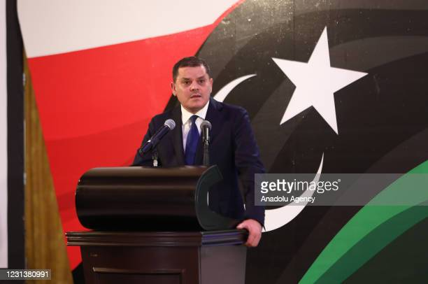 Libya's Prime Minister Abdul Hamid Dbeibeh speaks on the latest state of government formation efforts during a press conference in Tripoli, Libya on...