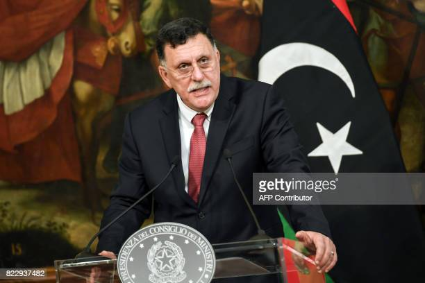 Libya's UN-backed Prime Minister Fayez al-Sarraj speaks during a joint press conference with Italian Prime Minister following their meeting at...
