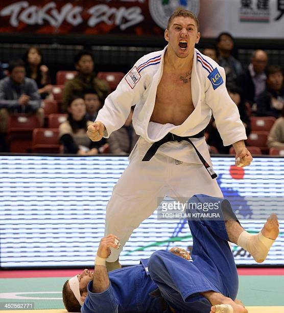 Lic Pietri of France reacts upon his Ippon victory over Travis Stevens of US during their men's under 81kg semifinal match in the GrandSlam Tokyo...