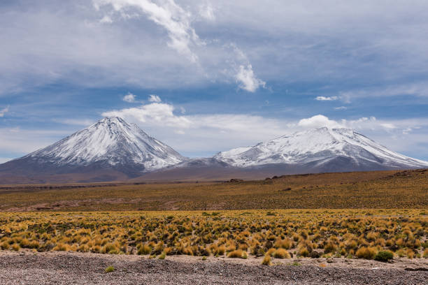 Licancabur and Juriques volcanoes by Bolivia and Chile border