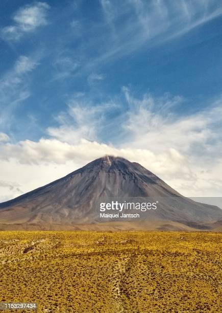 licancabur volcano in chile and bolivia. the volcano is seen with prominence of the atacama - stratovolcano stock photos and pictures