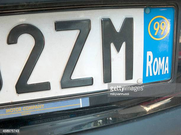 License plate of Rome, Italy