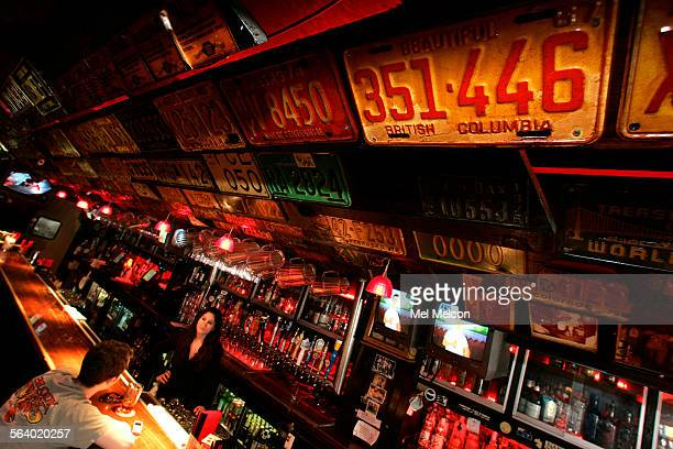 License plates are part of the decor above the bar inside Barney's Beanery on Santa Monica Blvd in West Hollywood