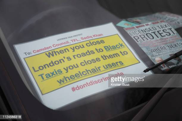 Licensed taxi drivers block the traffic in Parliament Square between 1pm4pm in protest against traffic policies 11th of February 2019 Central London...