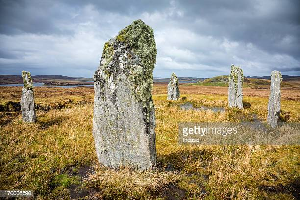 lichen on the callanish iv standing stones, isle of lewis - theasis stock pictures, royalty-free photos & images
