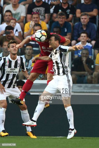 Lichtsteiner heads the ball during the Serie A football match n1 JUVENTUS CAGLIARI on at the Allianz Stadium in Turin Italy